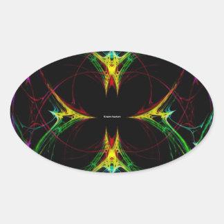 Mariposa abstracta 3 pegatina óval personalizadas