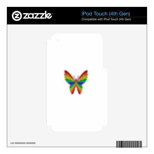 Mariposa abstracta del arco iris iPod touch 4G calcomanía