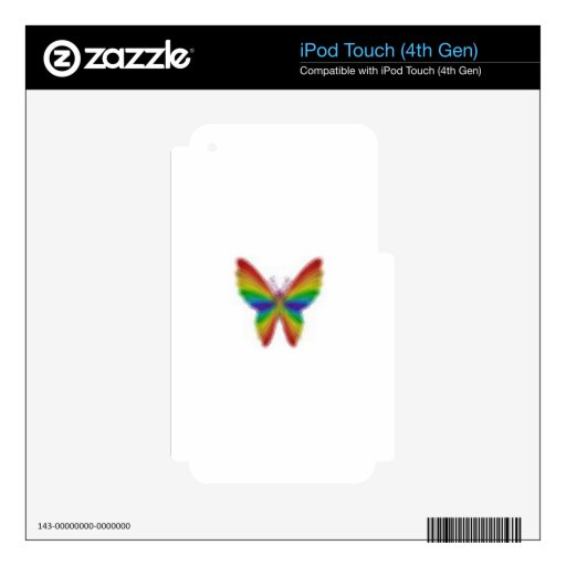 Mariposa abstracta del arco iris skins para iPod touch 4G
