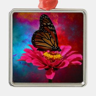 mariposa abstracta moderna de la margarita del adorno navideño cuadrado de metal