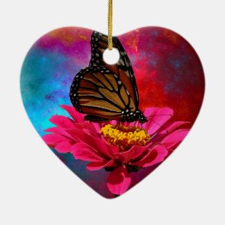 mariposa abstracta moderna de la margarita del adorno navideño de cerámica en forma de corazón