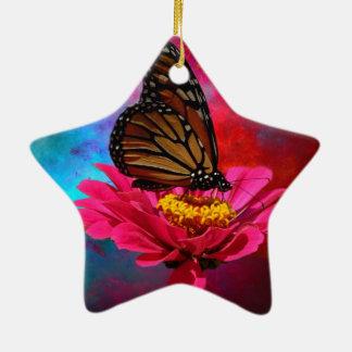 mariposa abstracta moderna de la margarita del adorno navideño de cerámica en forma de estrella