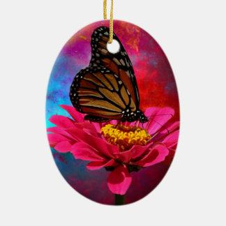 mariposa abstracta moderna de la margarita del adorno navideño ovalado de cerámica