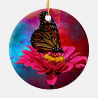 mariposa abstracta moderna de la margarita del adorno navideño redondo de cerámica