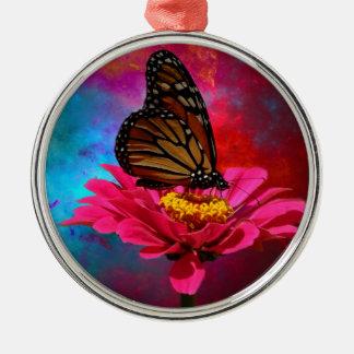 mariposa abstracta moderna de la margarita del adorno navideño redondo de metal