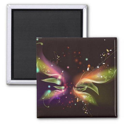 Mariposa abstracta multicolora iman de frigorífico