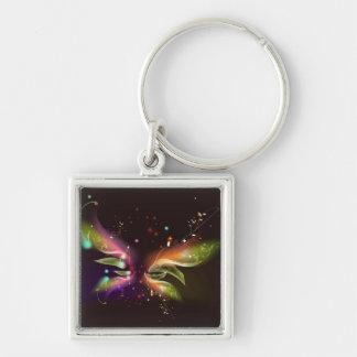 Mariposa abstracta multicolora llavero cuadrado plateado
