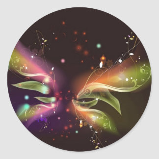 Mariposa abstracta multicolora etiquetas