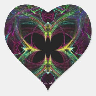 Mariposa abstracta calcomanías corazones