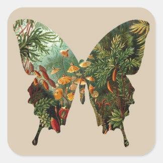 Mariposa abstracta calcomanias cuadradas