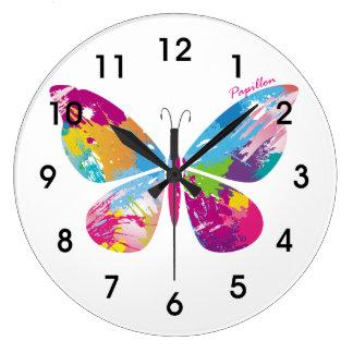 Mariposa abstracta reloj redondo grande