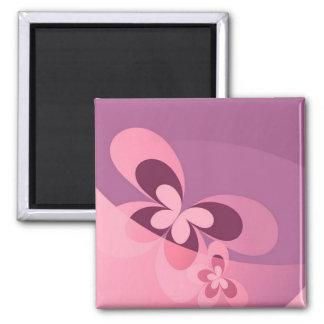 Mariposa abstracta rosada imán cuadrado