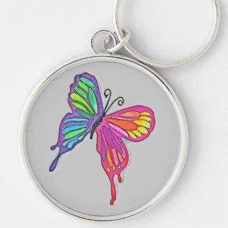 Mariposa acuosa llavero redondo plateado