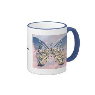 Mariposa altísima taza de dos colores