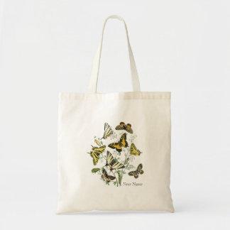Mariposa amarilla botánica bolsa de mano