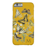 Mariposa amarilla botánica, con monograma funda de iPhone 6 barely there