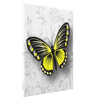 Mariposa amarilla caprichosa en floral gris lona envuelta para galerías