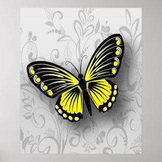 Mariposa amarilla caprichosa en floral gris póster