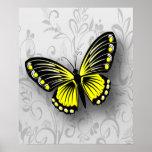 Mariposa amarilla caprichosa en floral gris poster