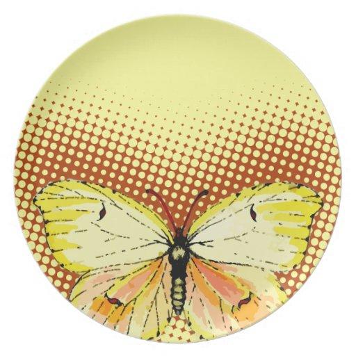 Mariposa amarilla de Cleopatra en puntos Platos Para Fiestas