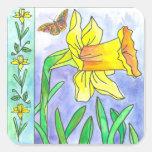 Mariposa amarilla de la flor de la acuarela del pegatina cuadrada
