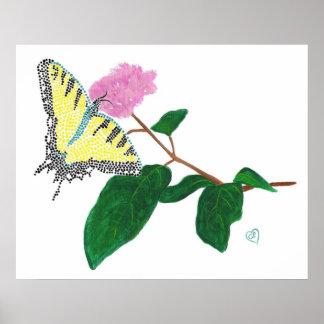 Mariposa amarilla de Swallowtail en el poster de