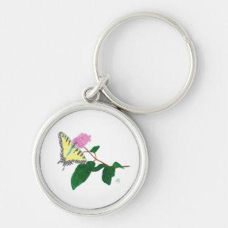 Mariposa amarilla de Swallowtail en Pointillism Llavero Redondo Plateado