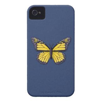 Mariposa amarilla en la caja azul del iPhone 4 iPhone 4 Case-Mate Cárcasa