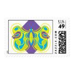 Mariposa amarilla hermosa sello