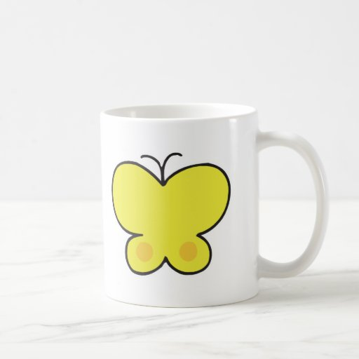 mariposa amarilla linda tazas
