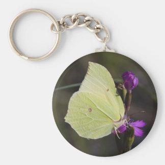 mariposa amarilla llavero redondo tipo pin