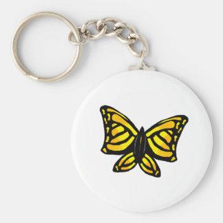 """Mariposa amarilla "" Llavero Redondo Tipo Pin"