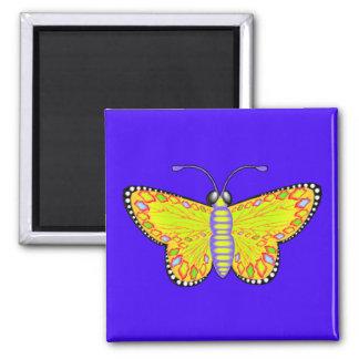 Mariposa amarilla luminosa imán cuadrado