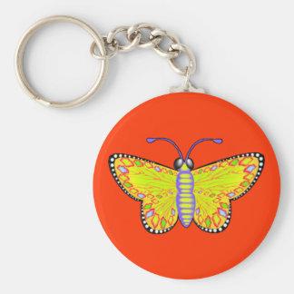 Mariposa amarilla luminosa llavero redondo tipo pin
