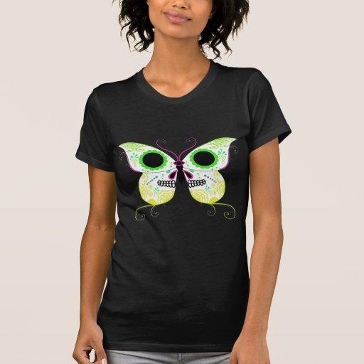 Mariposa amarilla multi del color del cráneo del camiseta