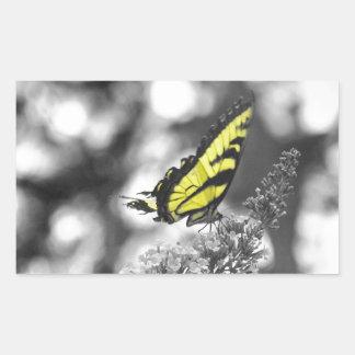Mariposa amarilla pegatina rectangular