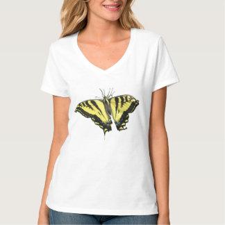 Mariposa amarilla y negra grande playera