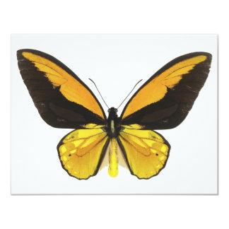 Mariposa amarilla y negra invitación 10,8 x 13,9 cm