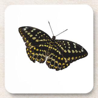 Mariposa amarilla y negra posavasos de bebidas
