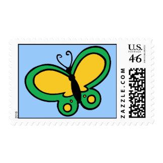 Mariposa amarilla y verde franqueo