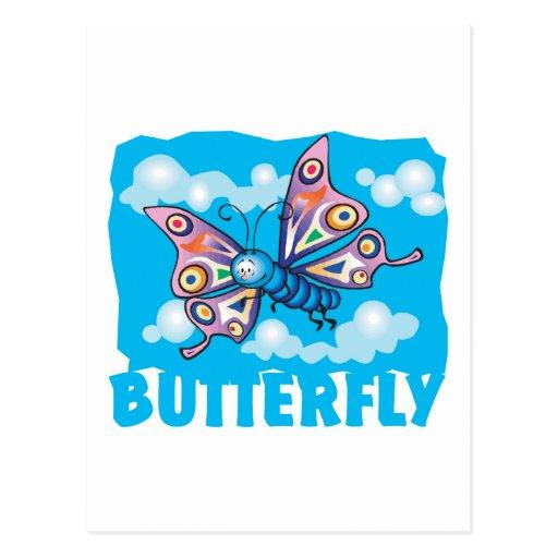 Mariposa amistosa del niño postales