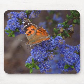 Mariposa anaranjada en la flor azul tapete de ratón