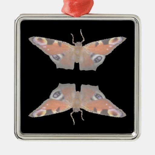 mariposa anaranjada (imagen digital) adorno cuadrado plateado