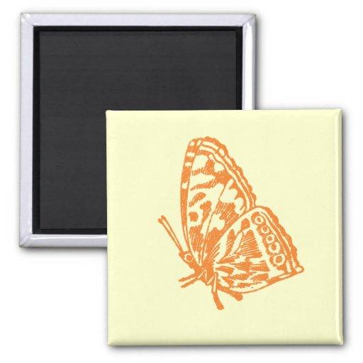 Mariposa anaranjada iman de nevera