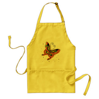 Mariposa anaranjada y amarilla delantal