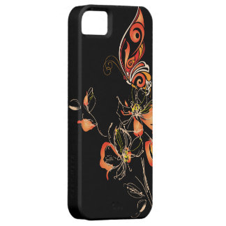 Mariposa anaranjada y floral abstractos iPhone 5 carcasas