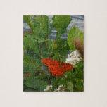 Mariposa anaranjada y negra en el lago rompecabeza con fotos