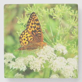 Mariposa anaranjada y negra en las flores posavasos de piedra