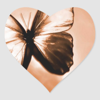 Mariposa animal abstracta Brown Pegatina En Forma De Corazón