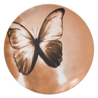 Mariposa animal abstracta Brown Plato Para Fiesta